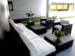 Terraza del hotel en Pinto